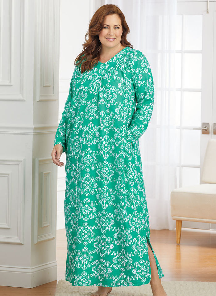 Floral Print Flannel Nightgown