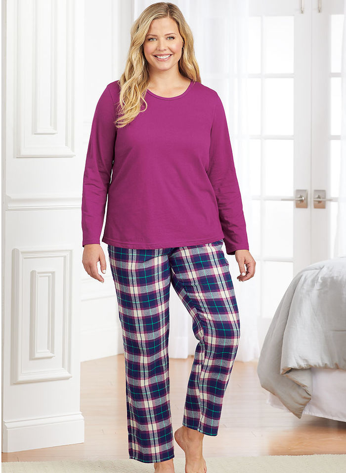 Knit Top & Plaid Flannel Pant Pajama Set