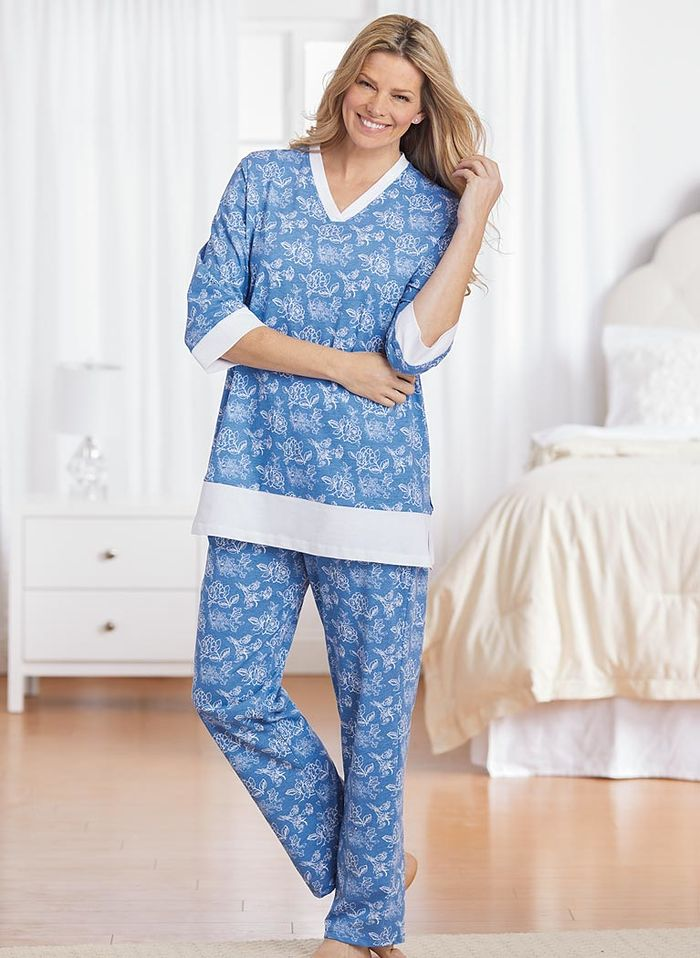 Print Knit Pajama Set