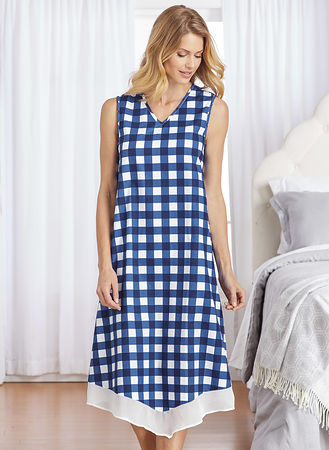 Main Sleeveless Gingham Nightgown