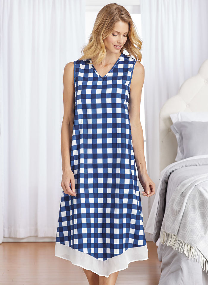 Sleeveless Gingham Nightgown